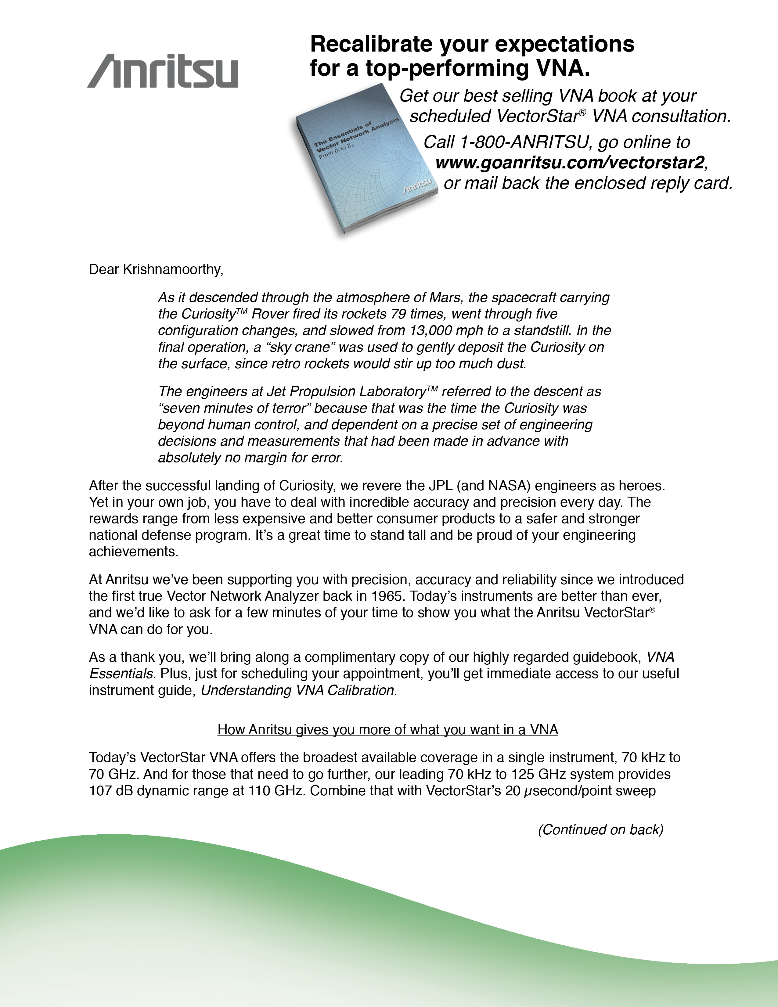 letter to prospects linking the precision of the mars curiosity rover with the precision of engineers