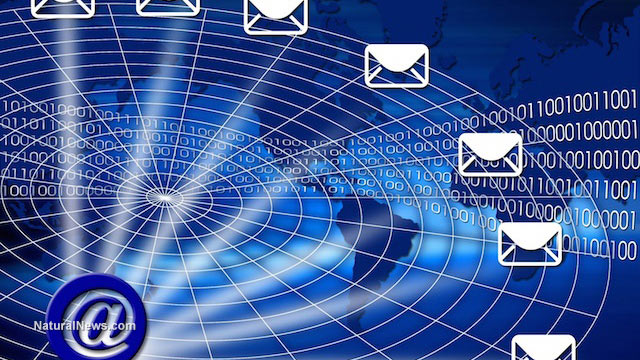 Email server lined to several envelopes graphic