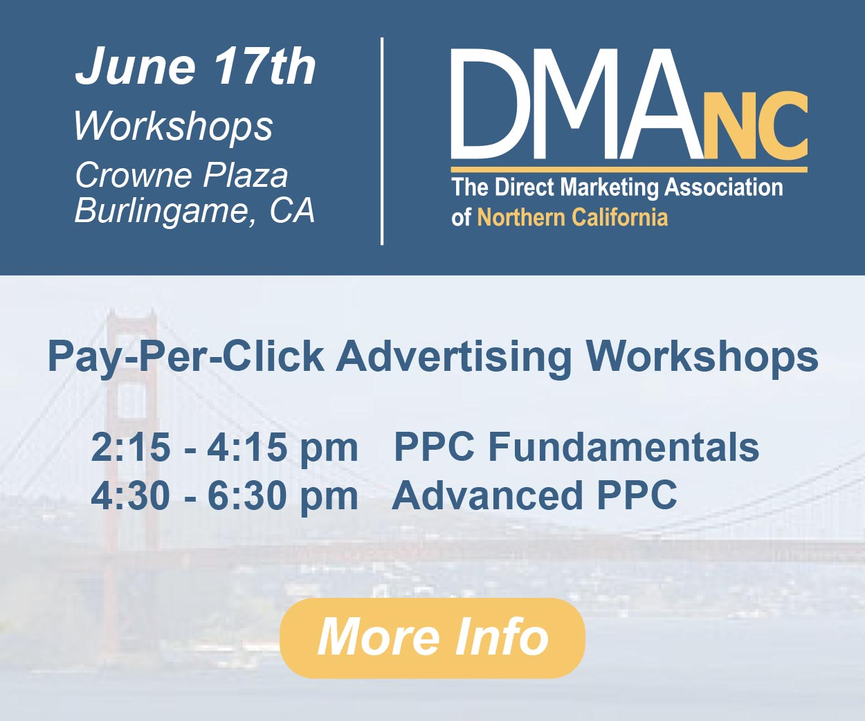 Direct Marketing Association of Northern California, June 17 conference announcement for PPC workshops