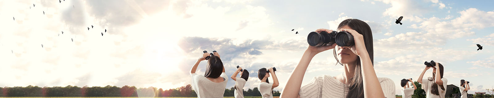Woman searching sky for a bird - search marketing