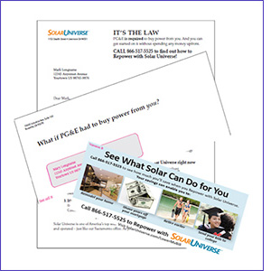 Solar direct mail pieces