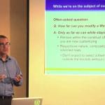 Carlos Perez teaching WordPress class on using stock and scratch themes
