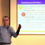 Carlos Perez teaching class on dispelling WordPress website myths