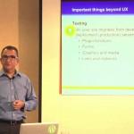Carlos Perez teaching class on 5 important issues beyond WordPress design