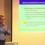 Carlos Perez teaching his class on how to select WordPress development finalists