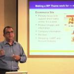 Carlos Perez teaching WordPress class on evaluating WordPress themes