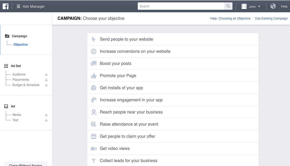 Facebook Ads Manager campaign objectives selection
