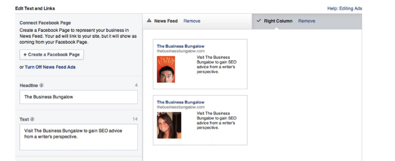 Facebook View How Ad will Look page