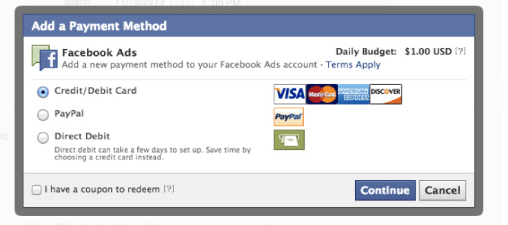 Facebook Place Order and Pay for Ad page