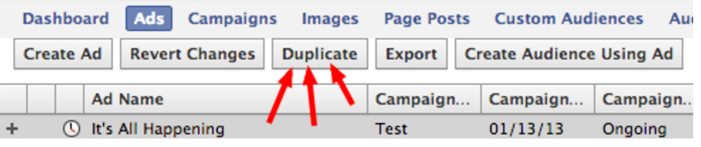 Facebook Ad Choices Focused on Duplicate