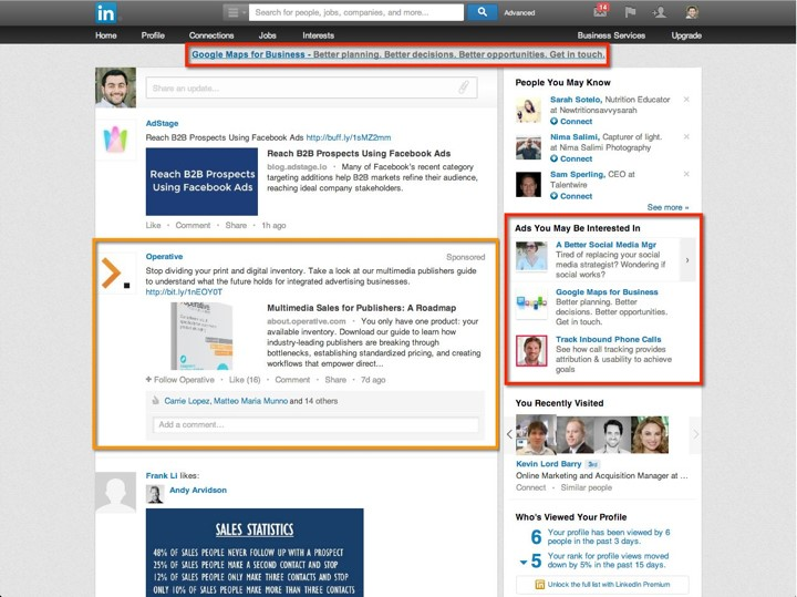 LinkedIn Advertising visual of Sponsored Update ad and Basic ad.