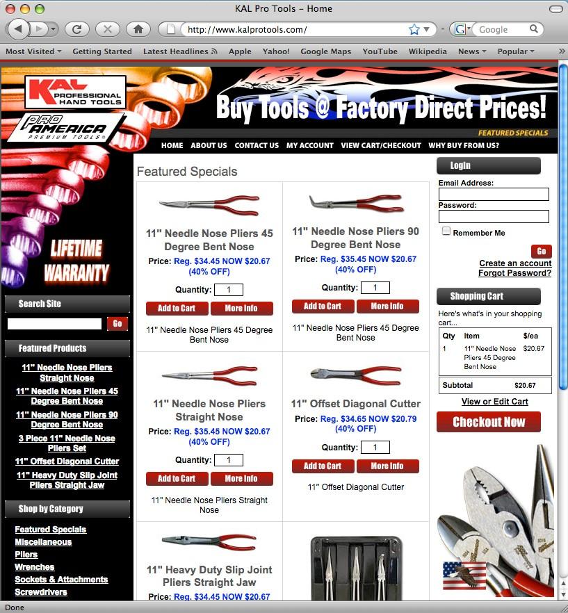 Ecommerce design client KalPro Tools.