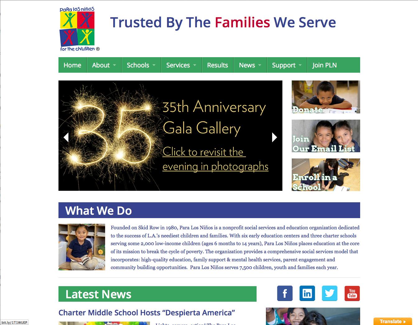 Beasley as website design company showing Para Los Ninos' home page