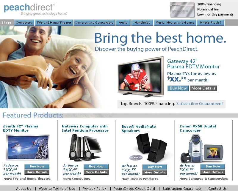 Ecommerce website design client, PeachDirect.
