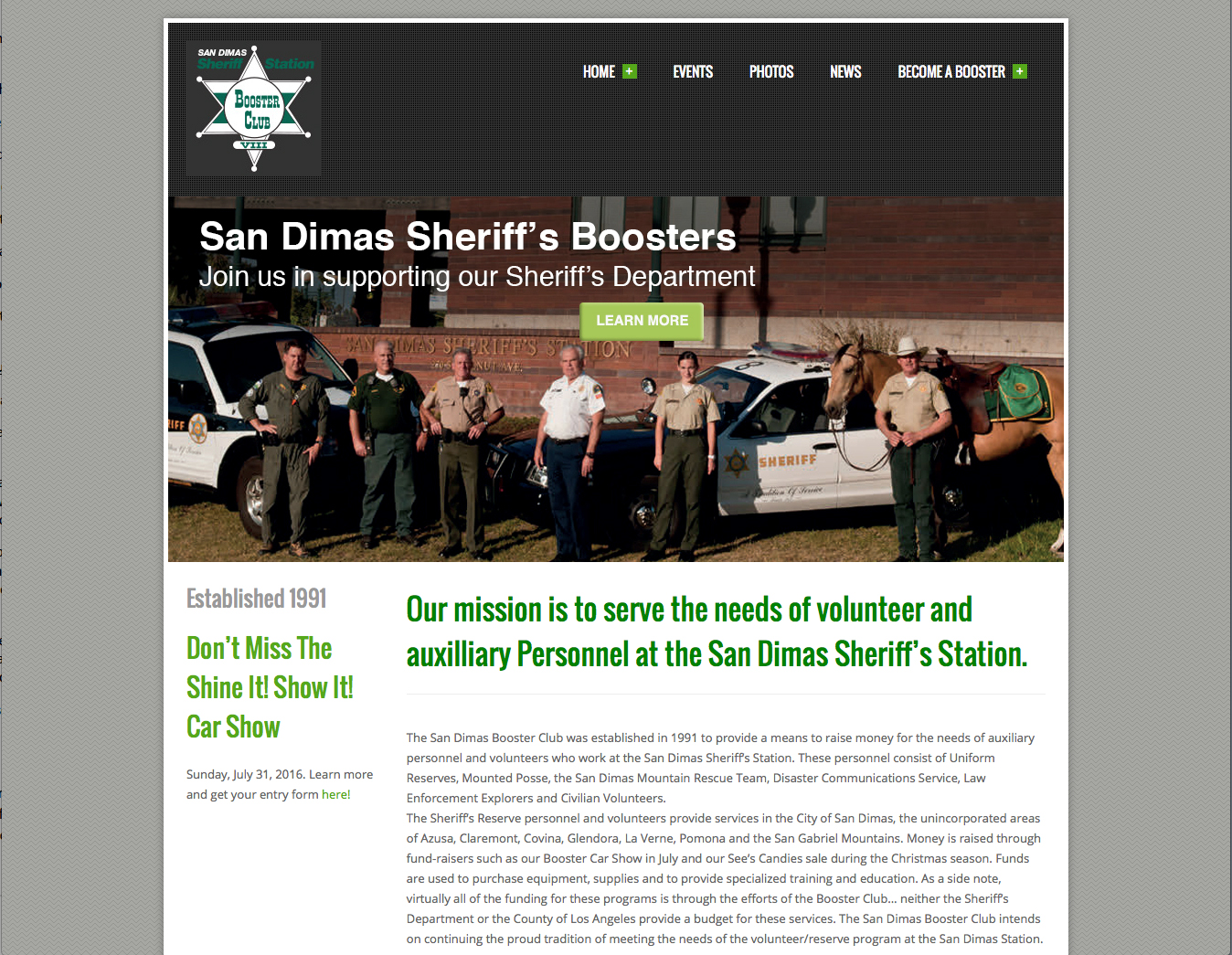 Non-profit website design for San Dimas Sheriff's Boosters