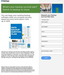 NetApp Altavault SLED Email Campaign Landing Page Image