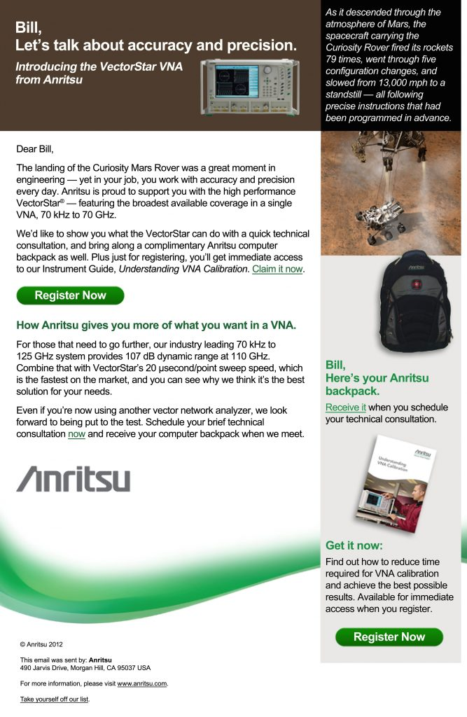 Personalized Email for Anritsu campaign