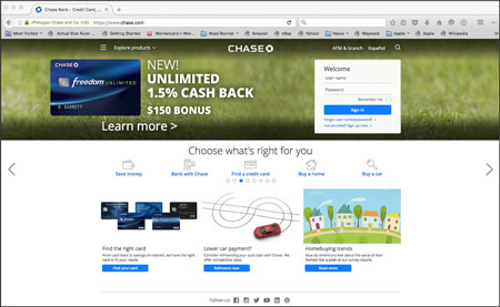 Chase Bank home page is their landing search landing page.