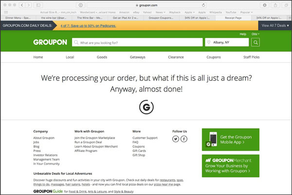 Confirmation page for Groupon