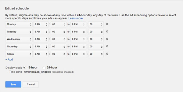Screenshot of a Business Hours Schedule in Google AdWords.