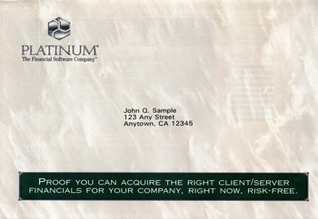 Image of Platinum Software targeted direct mail campaign envelope.