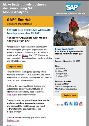 Image of SAP's new email template design.