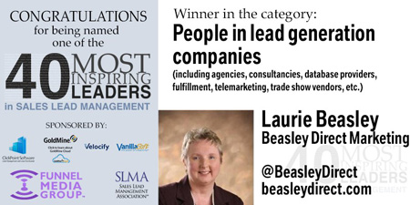 Graphic announcement of Laurie Beasley selected as one of top 40 inspirational leaders in sales lead generation. She is counted among the top inspirational female leaders in marketing.