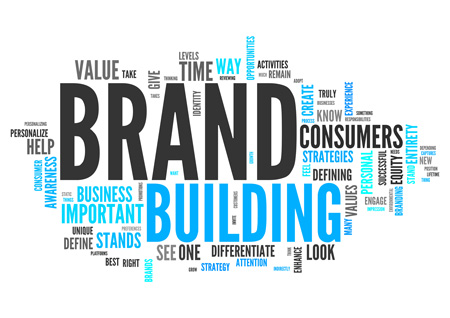 Building Brand Awareness words in a collage.