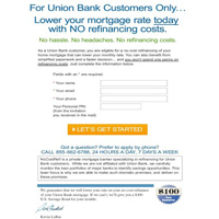 Union Bank insert for no refi promo