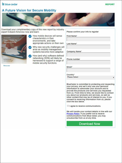 Blue Cedar email registration page.