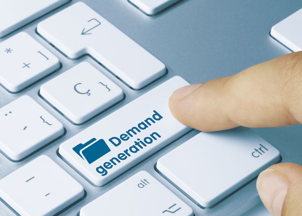 Finger on lead generation training button on keyboard.