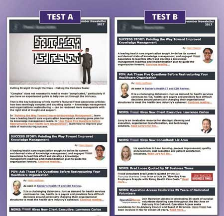 eNewsletter template tests with A and B showing banner and removed