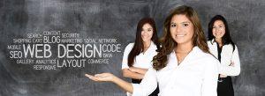 SEO Initiative concepts present by three businesswomen.