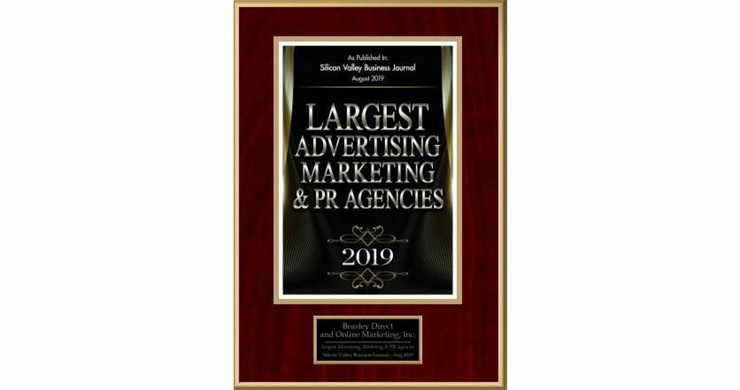 Beasley Direct and Online Marketing, Inc., Places 14th in Silicon Valley Business Journal List of Largest Advertising, Marketing and PR Agencies