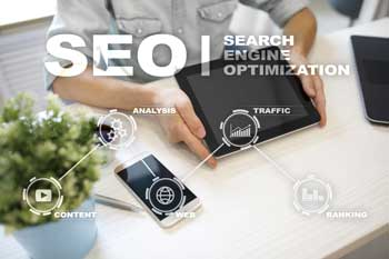 SEO graph with desk in background.