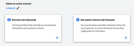 Google Ads Keyword Planner select Discover new keywords option.