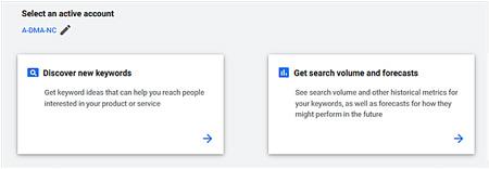 Google Ads Keyword Planner select Discover new keywords option.