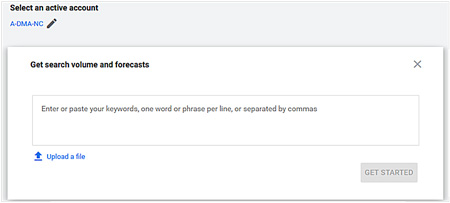 """Copy and paste or upload a file with your keywords here. Then click """"Get Started""""."""