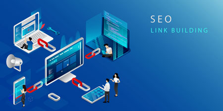 SEO Link Building process shown in a iconograph